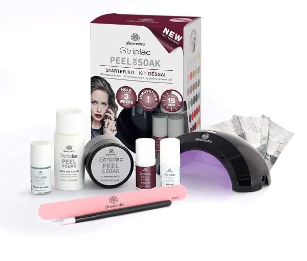 alessandro Striplac Peel or Soak Starter Kit – LED-Nagellack Set – Velvet Red